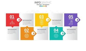 timeline infografica con quadrati colorati e frecce vettore