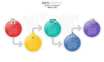 cerchio colorato e freccia 5 passaggi infografica vettore
