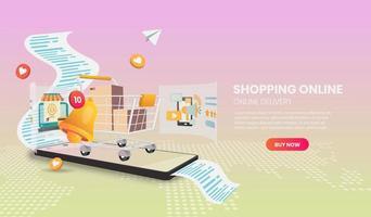 modello web del carrello della spesa online vettore