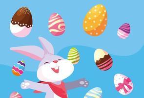 coniglio con uova di Pasqua vettore