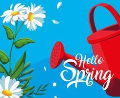 ciao carta di primavera con fiori e vaso di plastica spruzzatore vettore