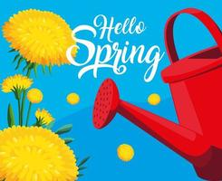 ciao carta di primavera con fiori gialli e vaso irrigatore
