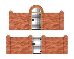 cancello in acciaio con recinzione in mattoni isolato vettore