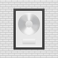disco in vinile argento con cornice nera