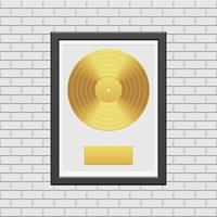 disco in vinile dorato con cornice nera