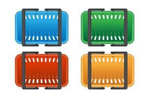 vista dall'alto di cestini della spesa colorati