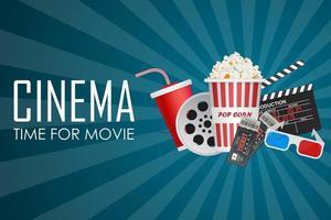 tempo per il poster del film con elementi del cinema sul blu vettore