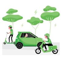 concetto di energia verde alternativa con auto elettrica vettore