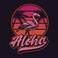 design vintage t-shirt fenicottero tramonto e aloha vettore