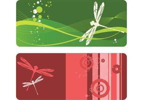 Pacchetto di vettore della bandiera della libellula