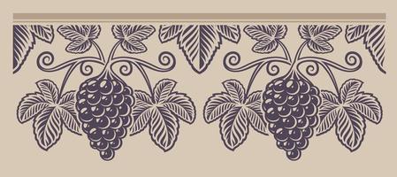 modello vintage ramo senza soluzione di continuità dell'uva vettore