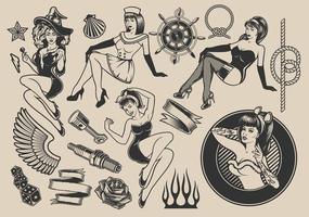 disegni in stile tatuaggio pin-up, marine, rockabilly e halloween vettore