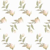 motivo floreale senza soluzione di continuità con boccioli e foglie vettore