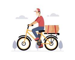 un corriere in bicicletta che consegna pizze