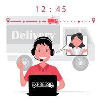 agente di servizio di cliente di affari di consegna che comunica al cliente vettore