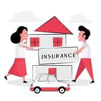 """coppia che tiene il segno di """"assicurazione"""" davanti alla casa vettore"""
