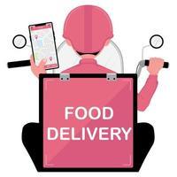 uomo di consegna cibo con scooter in possesso di un telefono vettore