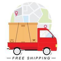 concetto di spedizione gratuita con camion e mappa vettore