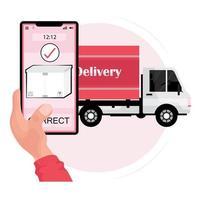 mano che tiene il telefono con un pacco e un camion di consegna