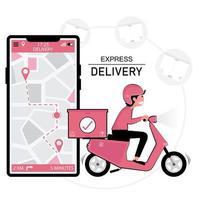 uomo di consegna scooter e smartphone con posizione gps vettore