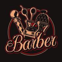 distintivo di elementi da barbiere vintage per t-shirt vettore