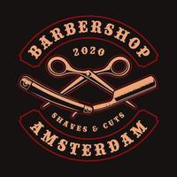 distintivo vintage rasoio e forbici per t-shirt vettore