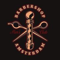 Distintivo vintage di barbiere e forbici per t-shirt vettore