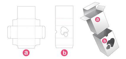 scatola al dettaglio con coperchio con finestra a cuori vettore