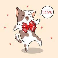 adorabile gatto in farfallino con fumetto di amore vettore