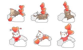 6 gatti con cuori sulle nuvole vettore