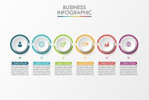 6 passaggi colorati cerchio collegato infografica