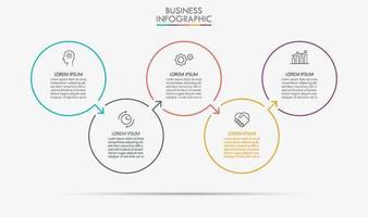 modello di infografica aziendale minimal cerchio colorato