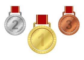 medaglia del vincitore isolata vettore
