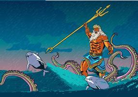 Poseidon con animali del mare vettore