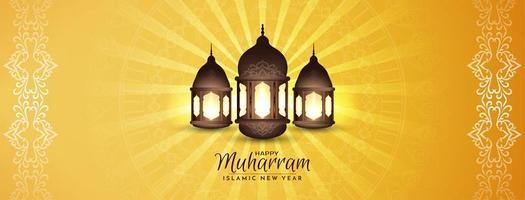 felice muharram oro giallo lanterna banner design vettore