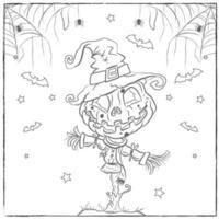 Pagina da colorare di spaventapasseri zucca di Halloween vettore