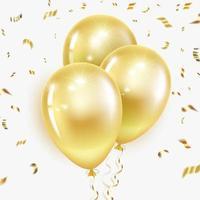 palloncini dorati e coriandoli vettore