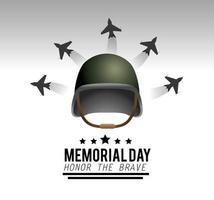 biglietto di auguri del memorial day con elmetto militare e aerei