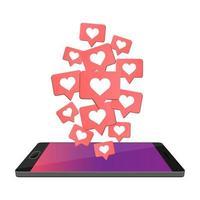 smartphone piace isolato vettore