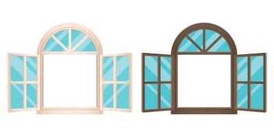 finestre in legno aperte vettore