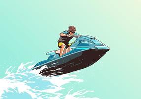 onda che salta vettore di jet ski