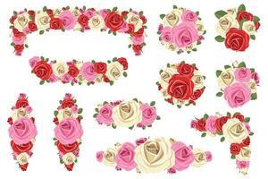 rosa composizioni floreali illustrazione vettoriale design isolato su sfondo bianco