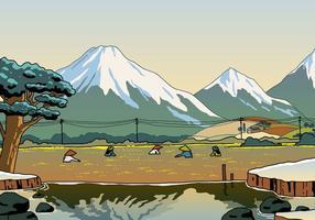 Bello paesaggio del giacimento del riso vettore