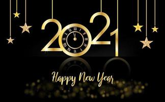 felice anno nuovo, 2021 oro e sfondo nero con un orologio e le stelle vettore