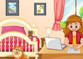 ragazza che lavora al computer in camera da letto vettore