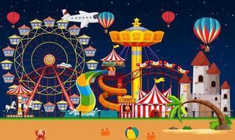 scena del parco di divertimenti di notte