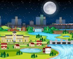 città natale del parco cittadino di notte a tema vettore