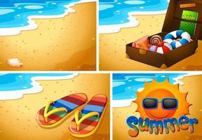 set di sfondo spiaggia sabbiosa vettore