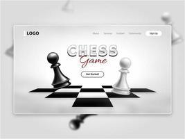 pagina di destinazione del gioco di scacchi realistico vettore