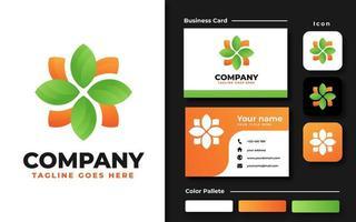 set di branding foglia floreale verde e arancione